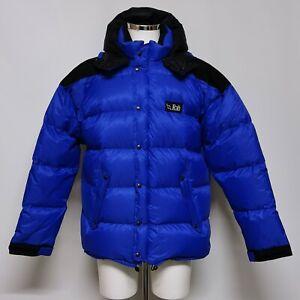 Rab Pertex Goose Down Puffer Jacket Size UK XL Blue Black Winter Casual 010698