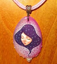 Pendant Pink Stone SHENSHIN Purple GIRL hand painted beaded necklace signed GIFT