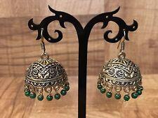 New Indian Pakistani Ethnic Bollywood Green Oxidise Golden Jhumki Earring Bali