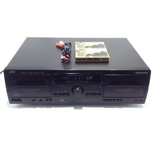 JVC Double Cassette TD-W254 Black Tape Deck Stereo Dual Recorder Player TESTED