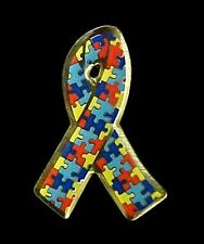Autism Puzzle Ribbon Pin Asperger Syndrome Awareness Yellow Gold Plated New