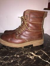 Mens Wolverine Brown Leather Lace Up safety toe Insulated Boot Sz 11.5 E