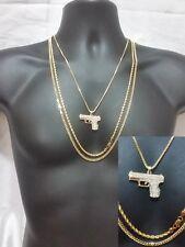 Gold Gun Handgun 3 Pc Necklace Chain Rope Cuban Pendant Box Hip Hop Iced Out