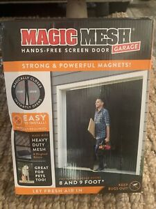 Magic Mesh Hand Free Magnetic Single Car Garage Screen Door Mosquito Net 8' & 9'