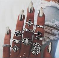 10Pcs/Set Women Gift Boho Vintage Silver/Gold Punk Knuckle Finger Midi Rings