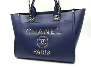Auth CHANEL Deauville Chain Shoulder Hand Bag Caviar Skin Leather Navy Gold 6587