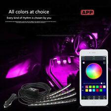 4x LED RGB Interior Light Neon Strip Lamp Kit Music Wireless Phone APP Control