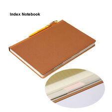 Medium A5 Index Leather Notebook Hardcover Index Tab Divider Paper Lined Journal