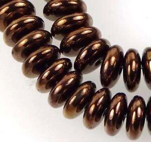50 Czech Glass Rondelle Beads - Dark Bronze 6x2mm