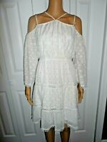 Beautiful Chelsea & Violet size S white with gold cold shoulder dress ladies NWT