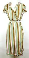 L.L. BEAN Women's 10 - PINK GREEN & BROWN STRIPED SHORT SLEEVE A LINE WRAP DRESS