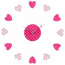 Premier Housewares DIY Wall Clock, Pink/White Heart Plastic, Customisable Layout