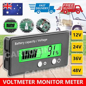 LCD 12V-48V Battery Capacity Indicator Voltage Voltmeter Monitor Meter Caravan