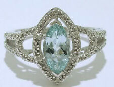 R190 - SOLID 9K White Gold NATURAL Aquamarine & Diamond Solitaire Ring size M