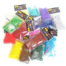 600 Colourful Solid-Color Rubber Loom Bands Bracelet Making Kit Set