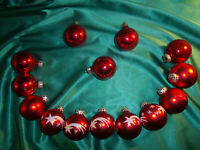 ~ 14 alte Christbaumkugeln Glas rot weiß Sterne Vintage Weihnachtskugeln CBS ~