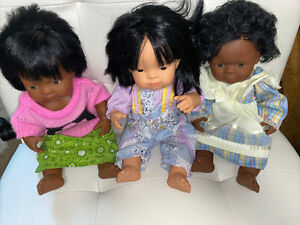 3 Miniland Educational 15'' Anatomically Correct African American and Asian Girl