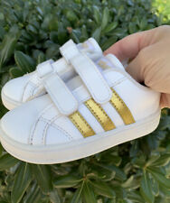 Adidas Baseline Cmf Toddler Sneakers Size 6 White & Gold Shoes