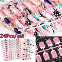 24pcs 20Designs Dessin Faux Ongles Frech C Couverture Nail Short Tips