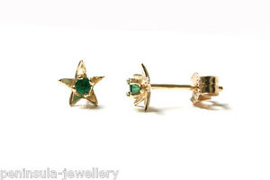 9ct Gold Emerald Studs Tiny Star Earrings Gift Boxed Made in UK Birthday Gift