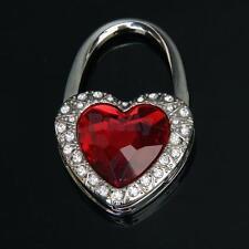 Red Heart Shaped Rhinestone Folding Purse Handbag Bag Hanger Hook Holder