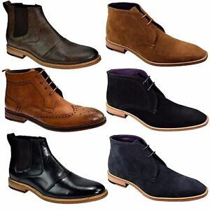 Cavani Mens Designer Branded Smart Formal Leather Look & Faux Suede Boots, BNWT