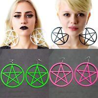 Damen Ohrringe Ohrhänger Hänger Gothic Teufel Stern Runden Pentagramm Ohrschmuck