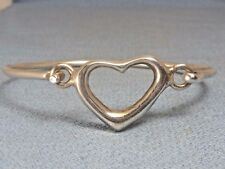 Sterling Silver Heart Clasp Hinged Opening Bangle Bracelet 925 Made in Mexico
