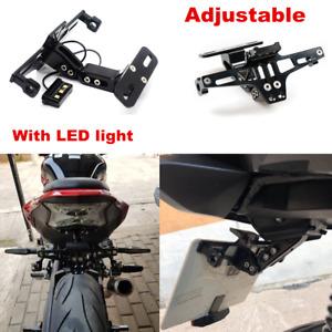 1x Adjustable Black License Plate Frame For Most Motorcycle Tag Number Bracket