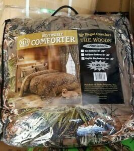 "1 pc Cal King Camo Comforter!! Natural Woods Camouflage Microfiber 104""x 94"""