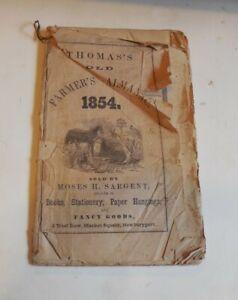 1854 ALMANAC -THOMAS'S OLD FARMERS ALMANAC.-MOSES SARGENT- NEWBURYPORT