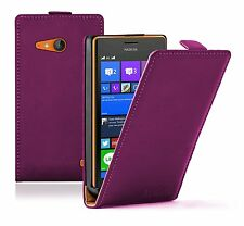 Ultra Slim PURPLE Leather Flip Case Cover Pouch for Nokia Lumia 735 LTE