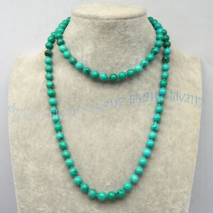 Natural Green Turquoise Round Gemstone 6/8/10mm Beads Knotted Necklace 14-100''