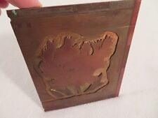 Vintage Etching Engraved Printing Machine Press Plate Stamp ~ Dianthus Red