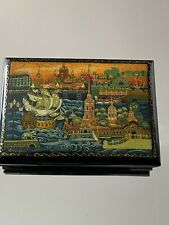 Vintage Signed Russian Handpainted Lacquer Hinged Box