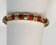 Hildago 18KYG Red Enamel Heart Thin Band  RJ3097R Size6.5