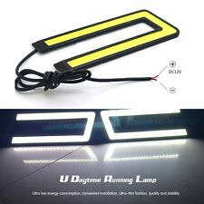 2X U-Shape White 12V 6000K COB LED Daytime Running Light DRL Headlight Fog Lamp
