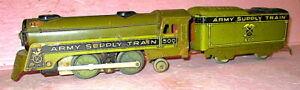 Vintage Marx # 500 Military ARMY SUPPLY TRAIN Locomotive & Tender TESTED GOOD