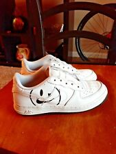Nike Air Force 1  Casual Shoes White Black Soles Smiley 5.5y