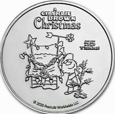2020 Peanuts 55 Years of A Charlie Brown Christmas 1 oz Silver Coin in capsule