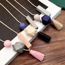Bohemian Wooden Tassel Pendant Statement Long Chain Sweater Necklace Jewelry  cc