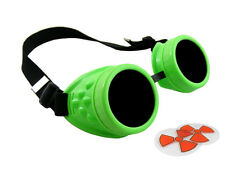NEON GREEN CYBER GOGGLES STEAMPUNK WELDING GOTH COSPLAY