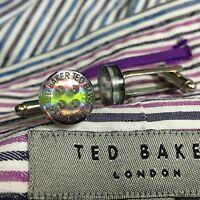 MENS TED BAKER PURPLE GREEN BLUE SHIRT BUTTONS SILVER PLATED CUFFLINKS + BAG