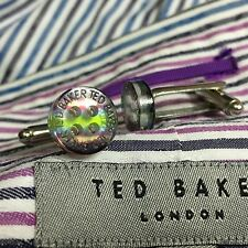 Mens TED BAKER Cufflinks PURPLE GREEN BLUE Shirt Buttons Silver Plated with Bag