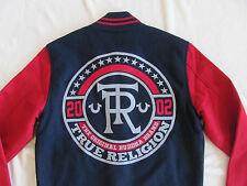 True Religion Super Cross Varsity Jacket-Wool Blend-Navy/Red -Men's XS-NWT $329