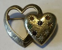 Vintage Signed EMMONS Pin Brooch Heart within a Heart Jeweled