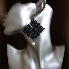 Fashion Jewelry Womens Black Crochet Lace White Bead Dangle Drop Hook Earrings