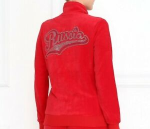 RUSSIAN Olympic Team Women's Track Suit Sweat JACKET Red VELOUR Swarowski BLING