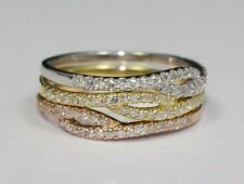 14k Rose Yellow and White Gold White Round Diamond  Stackable Band Ring Size 6