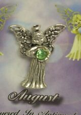 August Guardian Angel Pin Birthstone Antiqued Silver Plated Message Miracles